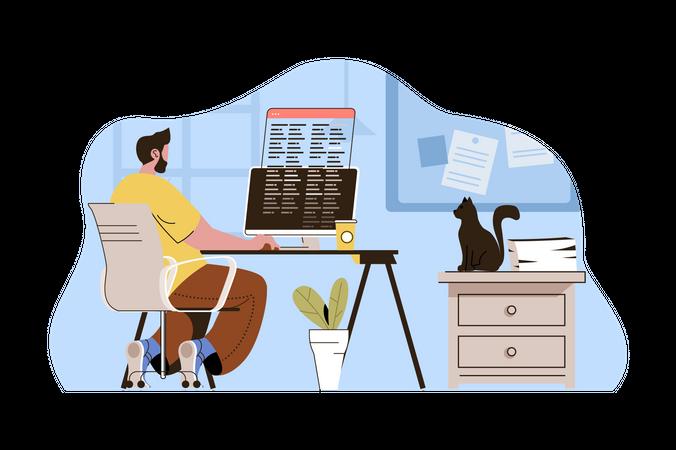 Application developer working from home Illustration