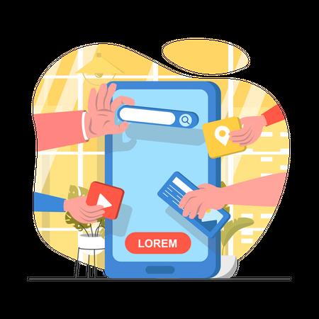 Application User interface design Illustration