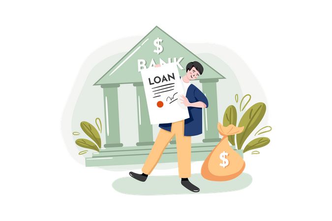 Applying for Loan at the bank Illustration