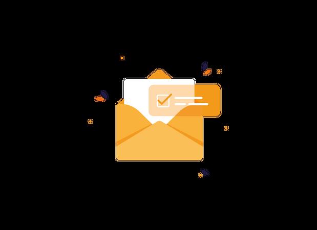 Approved open letter in envelope Illustration