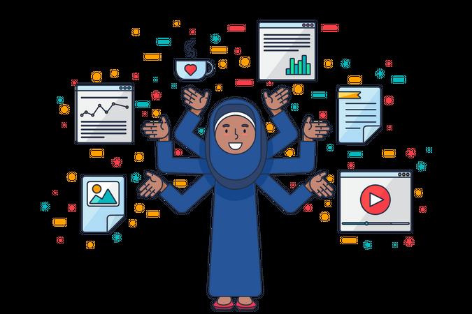 Arab business woman doing multitasking Illustration