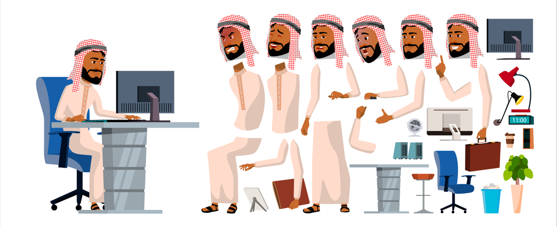 Arab Businessman Different Body Part Used In Animation Illustration