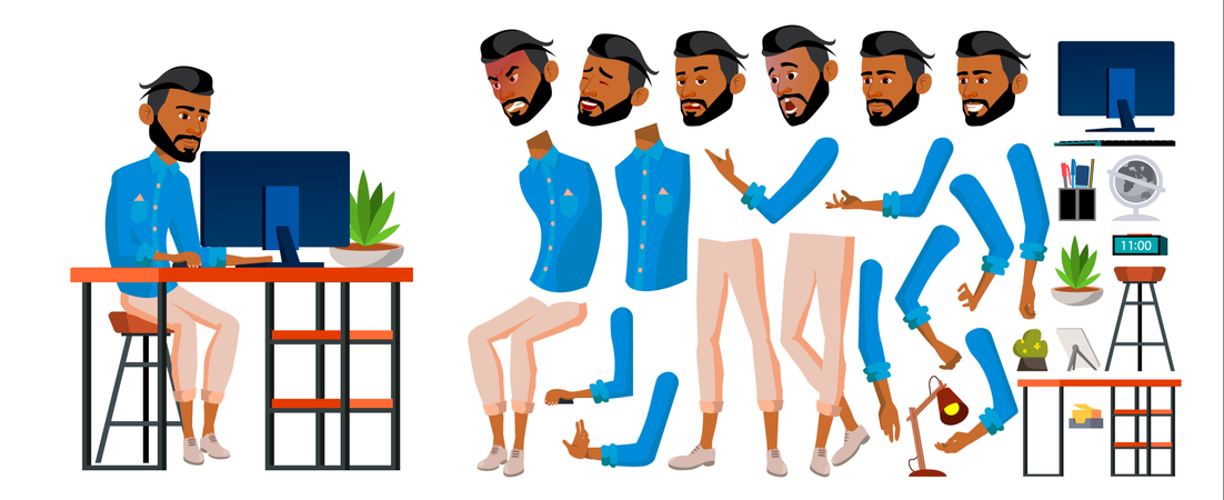 Arab Man Different Body Parts Used In Animation Illustration