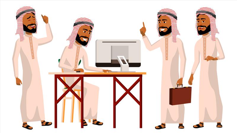 Arab Man Office Worker Illustration