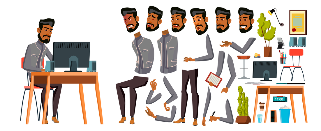 Arab Man Office Worker With Different Body Gesture Illustration