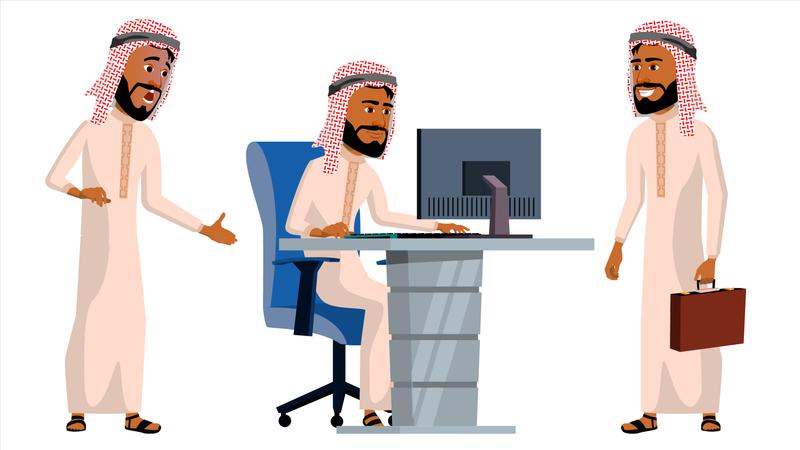 Arab Man Office Worker Working Gesture Illustration