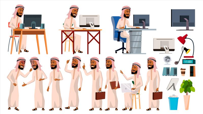 Arab Man Office Worker Working In Office Illustration