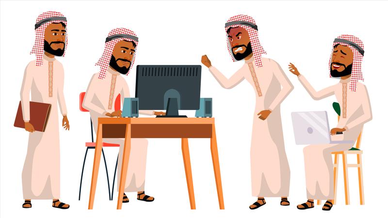 Arab Man Office Worker Working On Desk In Office Illustration
