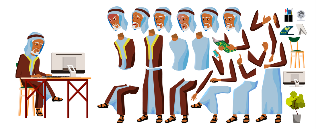 Arab Old Man Working In Office Illustration