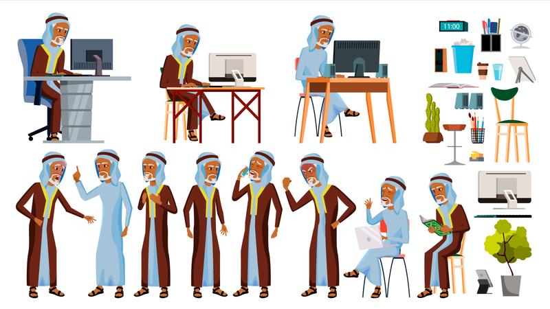 Arab Old Man Working In Office On Desk Illustration