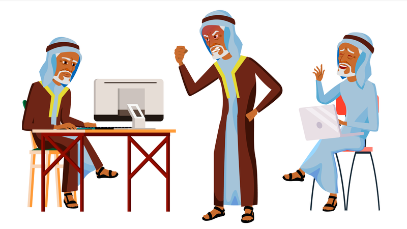 Arab Old Man Working In Office With Different Working Gesture Illustration