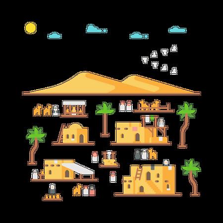 Arab village Illustration