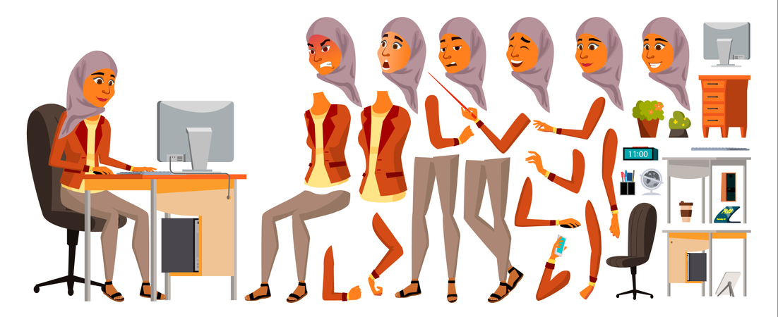 Arab Woman Different Body Parts Used In Animation Illustration