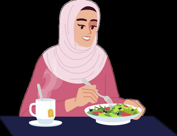 Arab woman eating salad with hot tea Illustration