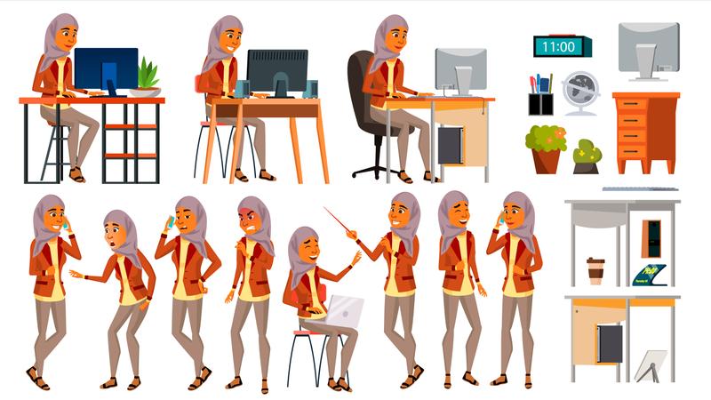 Arab Woman Set Office Worker Illustration
