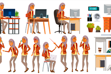 Arab Woman Office Worker Illustration Pack