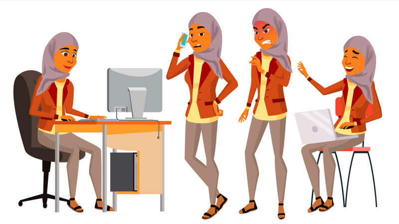 Arab Woman Working In Office Illustration
