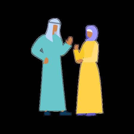 Arabian Couple Communicating Illustration