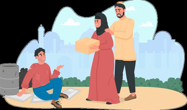 Arabian couple helping homeless person Illustration
