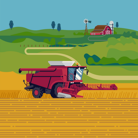 Arable field scenery with heavy machinery, red barn and green fields on background Illustration