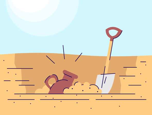 Archaeological excavations Illustration