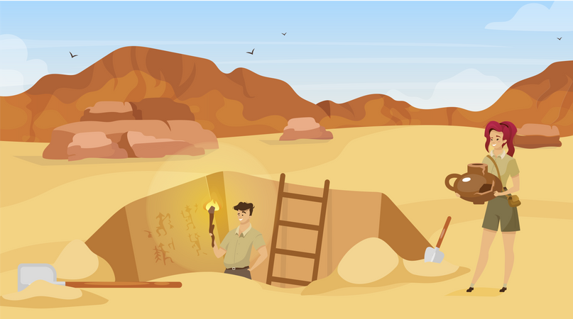 Archaeological site, man observe mural paintings Illustration