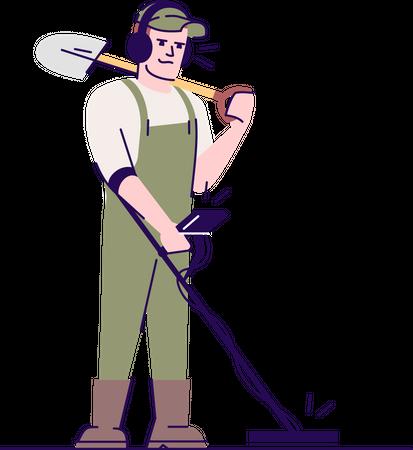 Archaeologist using metal detector and shovel Illustration