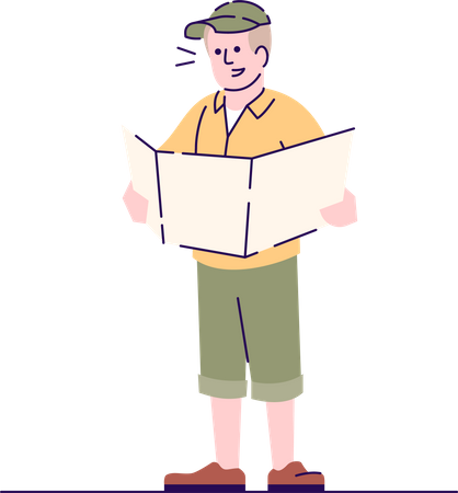 Archeologist studying paper map Illustration