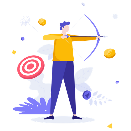 Archer or bowman holding bow and arrow, aiming and shooting Illustration