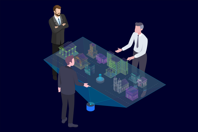 Architect explaining with Holographic Augmented Reality 3D City Model to businessman Illustration