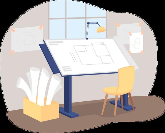 Architect workplace Illustration