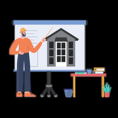 Architecture Designer presenting a design presentation Illustration