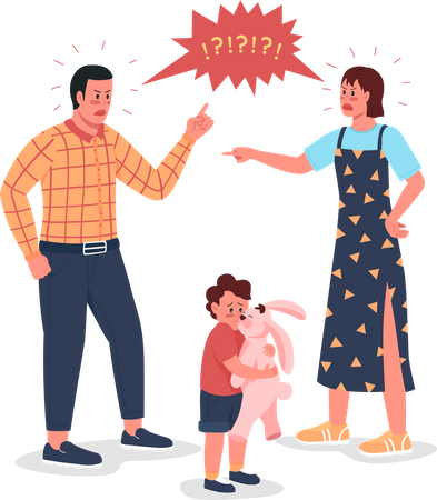 Arguing parents with scared child Illustration