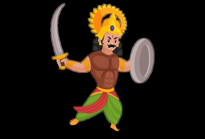 Arjun holding sword and shield Illustration