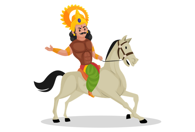 Arjun riding horse Illustration