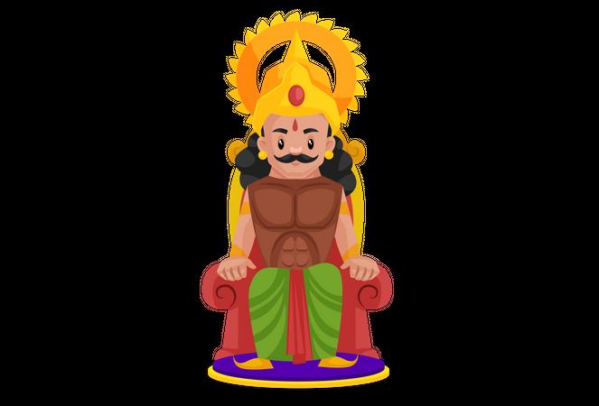 Arjun sitting on throne Illustration
