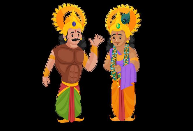 Arjun talking with Lord Krishna Illustration