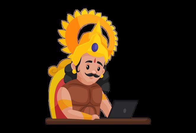 Arjun working on laptop Illustration