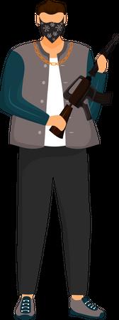 Armed criminal Illustration