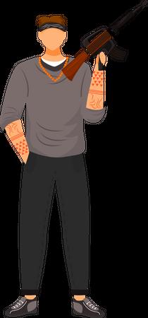 Armed gangster Illustration