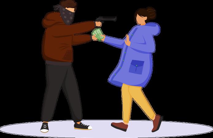 Armed street robbery Illustration