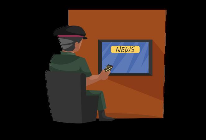 Army man watching news on TV Illustration