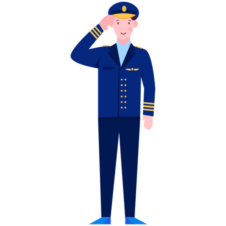 Army Officer Saluting Illustration