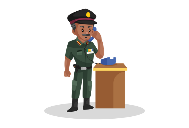 Army officer talking on phone Illustration