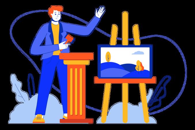 Art Auction Illustration