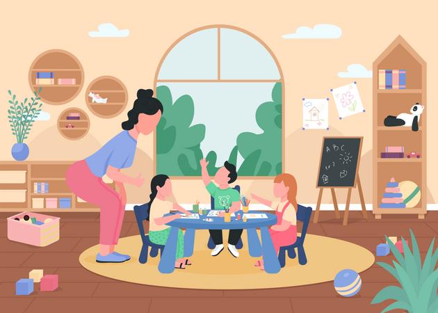 Art class in kindergarten Illustration