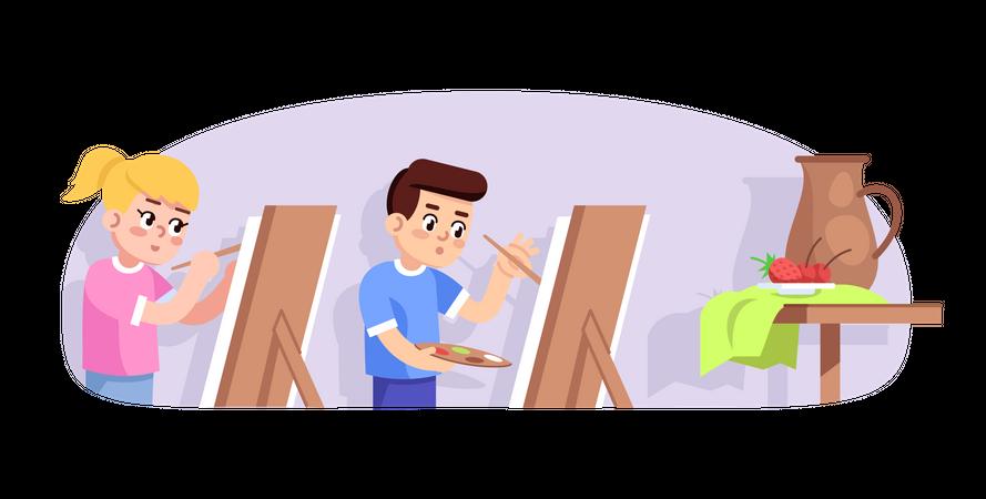 Art lesson for children Illustration