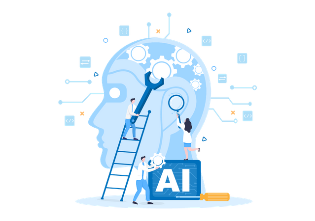 Artificial Intelligence Development Illustration