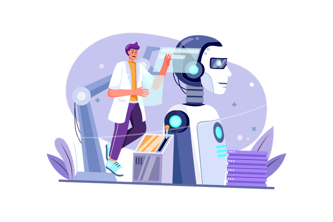 Artificial Intelligent robot configuration Illustration