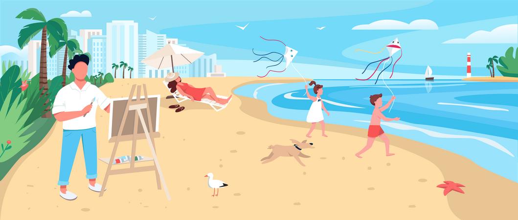 Artist painting at exotic sandy beach Illustration